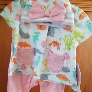 3pc set Baby girl 3-6 months bows, frills, pockets